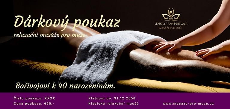 Dárkový poukaz. Relaxační masáže pro muže.