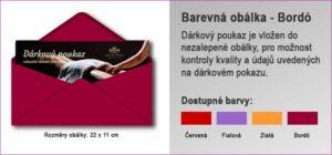 Dárková obálka v barvě Bordó, do ktré je vložen Dárkový poukaz.