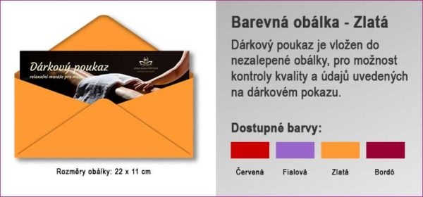 Dárková obálka ve zlaté barvě, do které je vložen Dárkový poukaz.