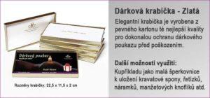 Dárková krabička ve zlaté barvě, do které je vložen Dárkový poukaz.