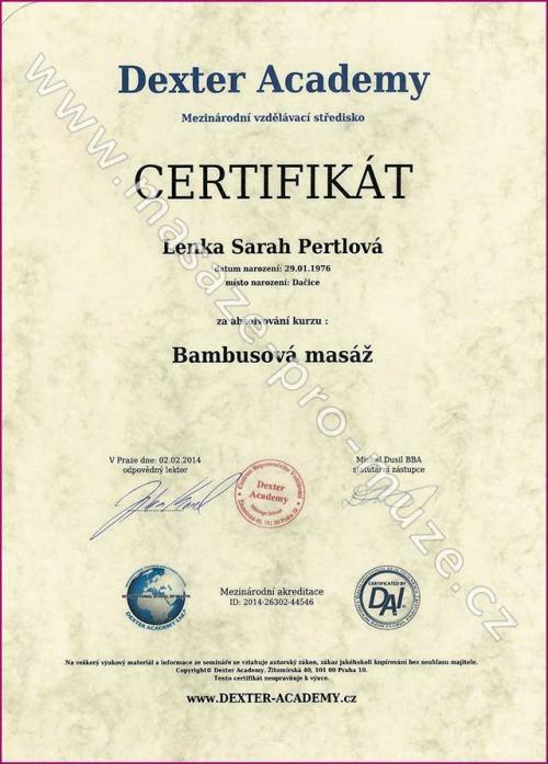 Certifikát-Bambusová masáž