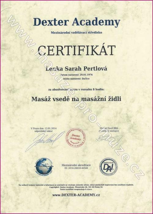 Certifikát-Masáž vsedě na masážní židli