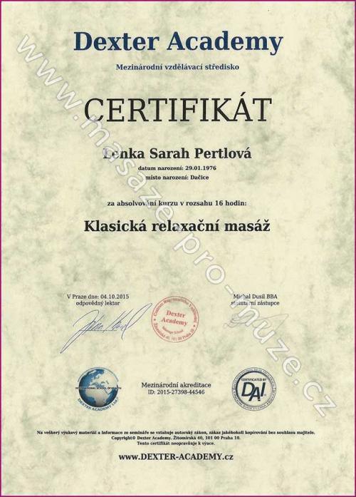 Certifikát-Klasická relaxační masáž
