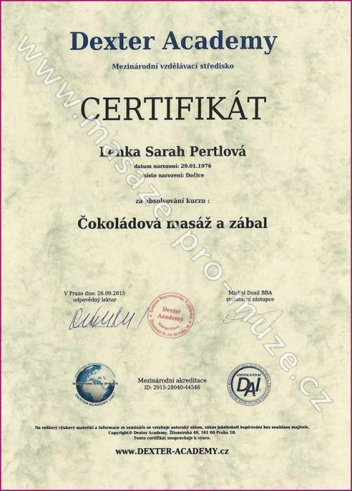 Certifikát-Čokoládová masáž