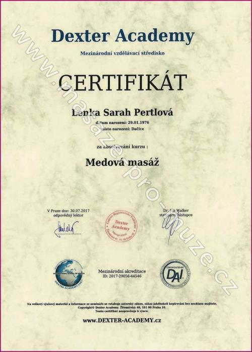 Certifikát-Medová masáž